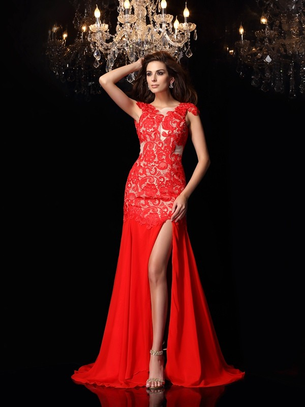 Sirena Escote Alto Brush Train Rojo Vestidos de Fiesta