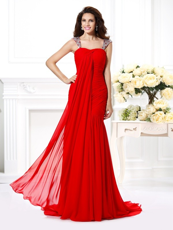 Sirena Tirantes Brush Train Rojo Vestidos de Fiesta with Cuentas