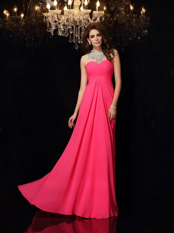Corte A Escote Alto Brush Train Fucsia Vestidos de Fiesta with Fruncido