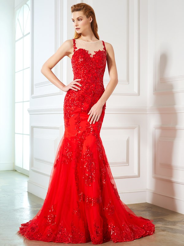Sirena Sheer Neck Brush Train Rojo Vestidos de Fiesta