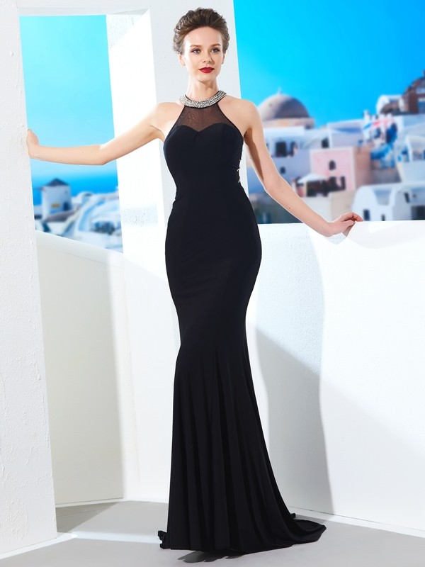 Vestido tubo Escote Joya Brush Train Negro Vestidos de Fiesta