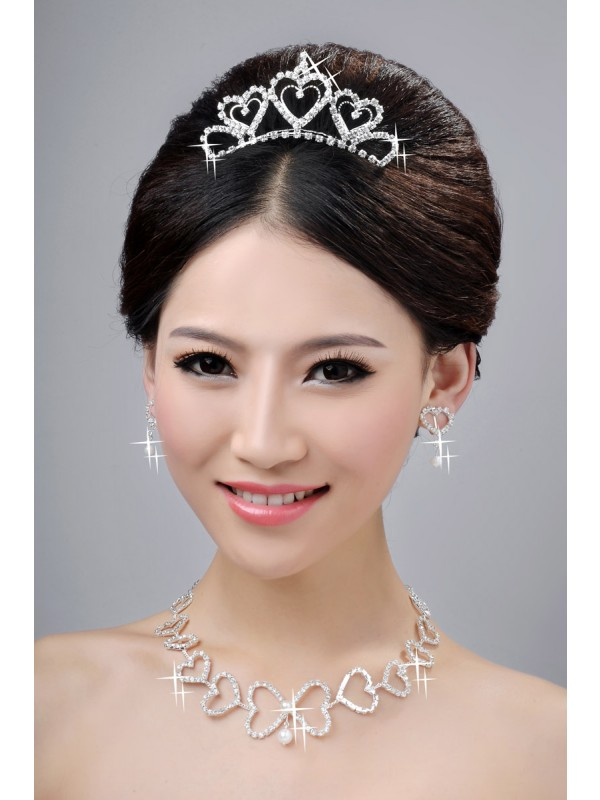 Awesome Alloy Clear Cristals Hearts Wedding Party Earrings Set