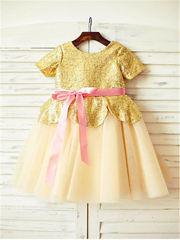 A-line/Princess Scoop Short Sleeves Sequin Floor-Length Tulle Flower Girl Dresses