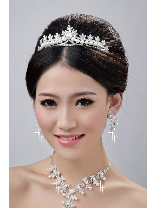 Fashionable Alloy Clear Cristals Wedding Party Earrings Set