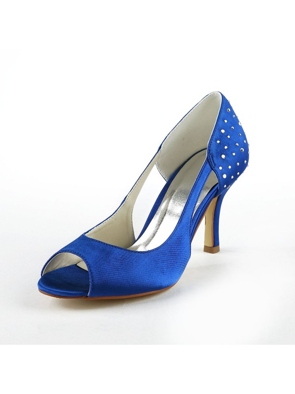 Gorgeous Satén Stiletto Heel Peep Toe With Estrás High Heels