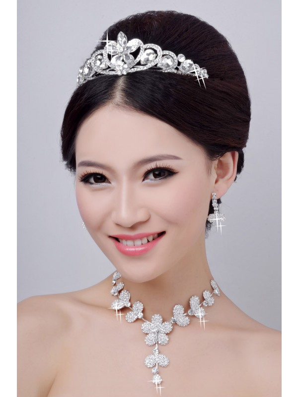 Hot Sale Alloy Clear Cristals Flower Wedding Party Earrings Set