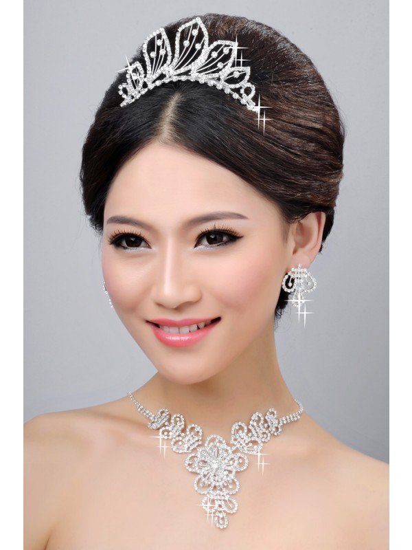 Hot Sale Beautiful Alloy Clear Cristals Wedding Party Earrings Set