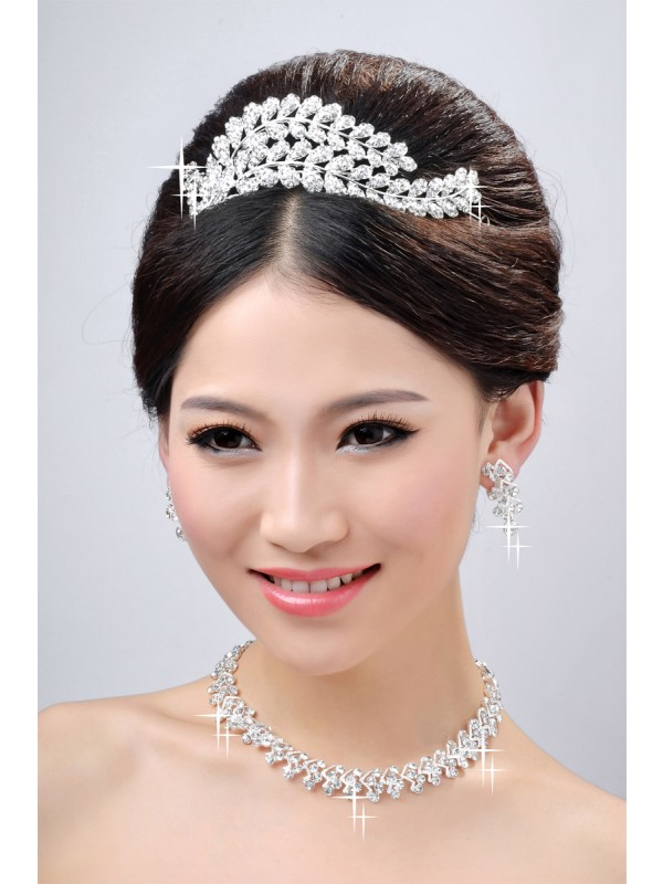New Style Beautiful Alloy Clear Cristals Wedding Party Earrings Set