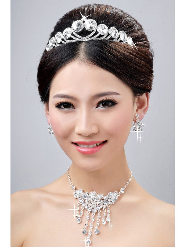 New Style Elegant Alloy Clear Cristals Flower Wedding Party Earrings Set