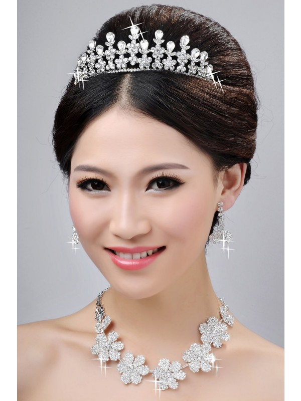New Style Nice Alloy Clear Cristals Flower Wedding Party Earrings Set