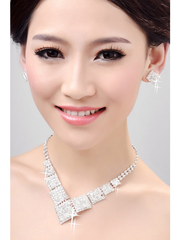 Nice Alloy Clear Wedding Necklaces Earrings Set