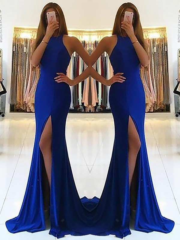 Vestido tubo Cabestro Brush Train Azul real Vestidos de Fiesta with Volantes