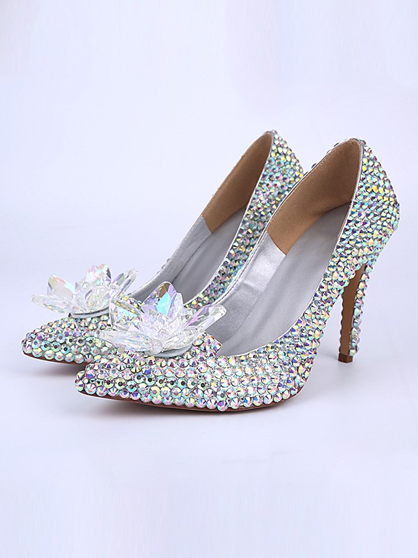 Patent Leather Cone Heel Closed Toe With Cristal Flower High Heels