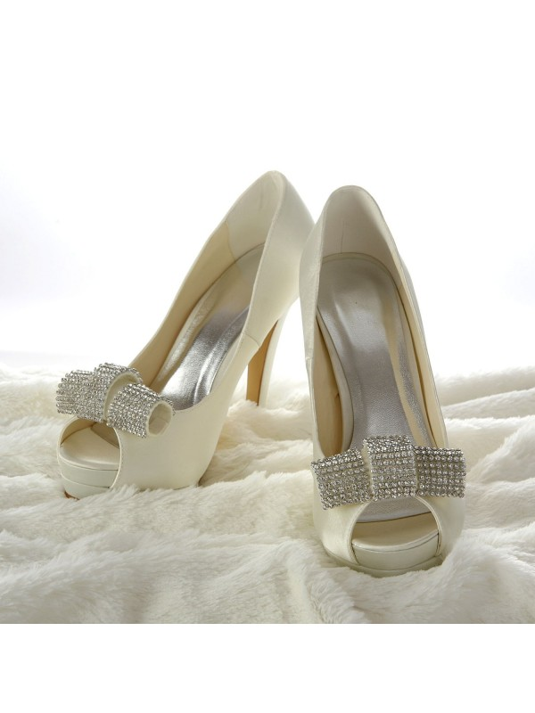 Satén Stiletto Heel Peep Toe Platform Marfil Wedding Shoes With Estrás