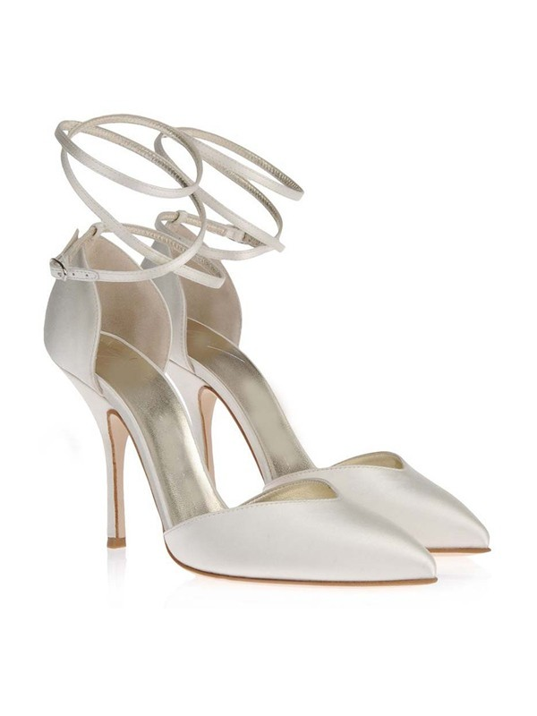 Satén Closed Toe Stiletto Heel Blanco Wedding Shoes