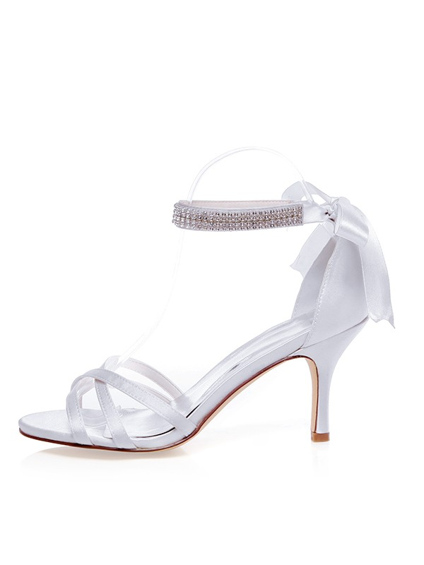 Satén Peep Toe Stiletto Heel Silk Wedding Shoes