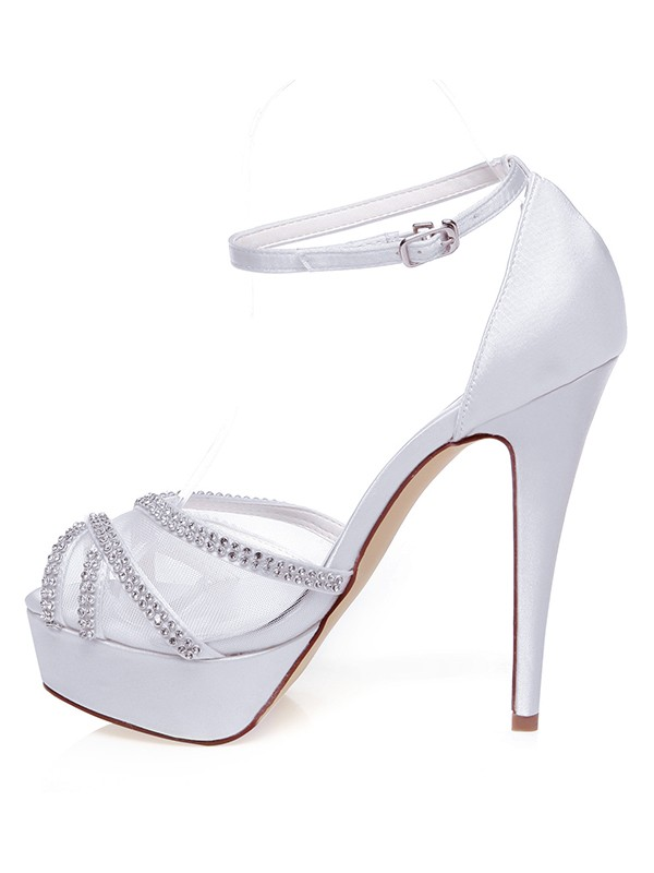Satén Peep Toe Stiletto Heel Estráss Wedding Shoes
