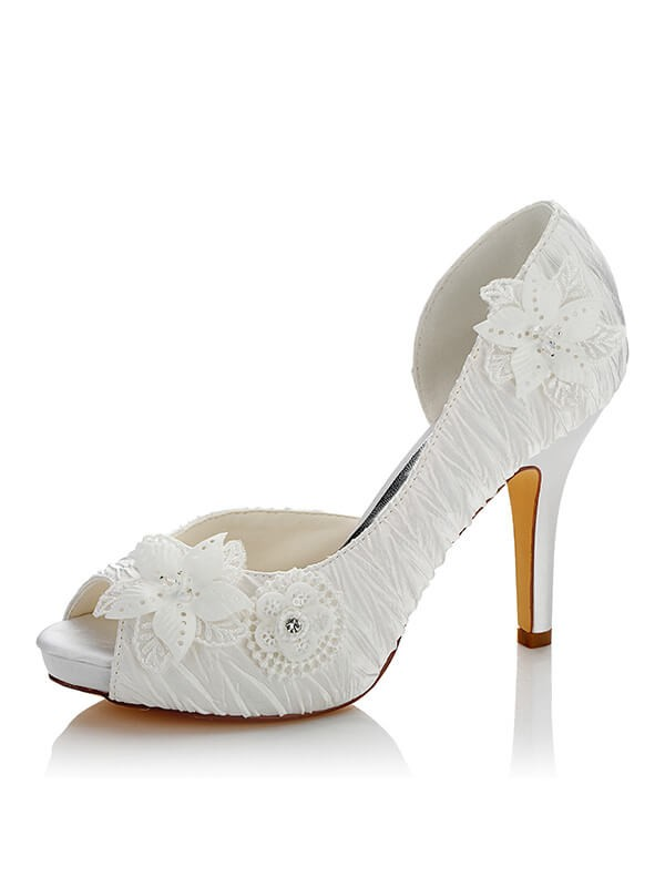 Satén PU Peep Toe Stiletto Heel Wedding Shoes