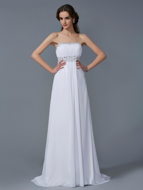 Blanco Corte A Sin Tirantes Brush Train Vestidos de Fiesta with Cuentas