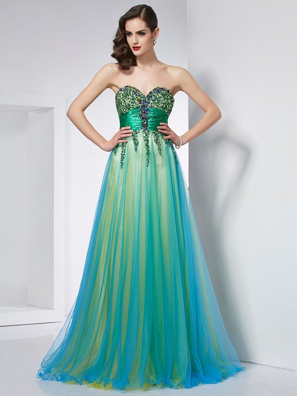 Verde Corte de baile Escote corazón Brush Train Vestidos de Fiesta with Volantes
