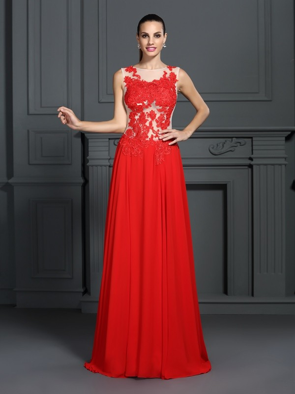 Rojo Corte A Escote Barco Brush Train Vestidos de Fiesta with Applique