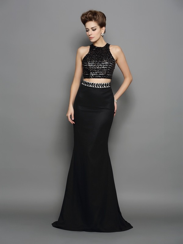 Sirena Escote Alto Brush Train Negro Vestidos de Fiesta