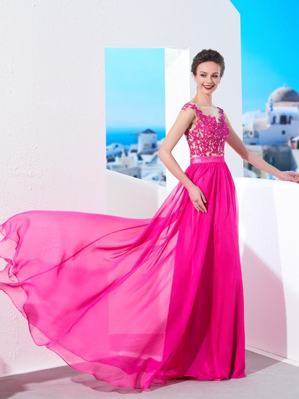 Corte A Sheer Neck Brush Train Fucsia Vestidos de Fiesta