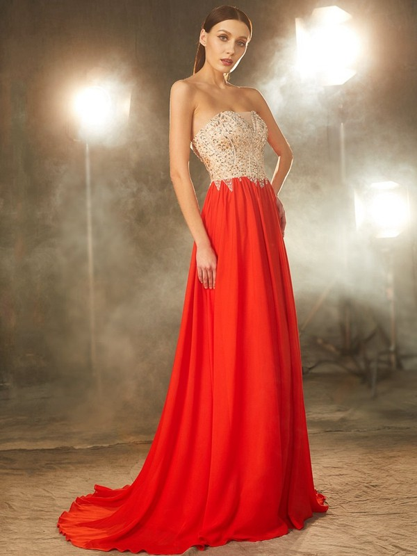 Sin Tirantes Brush Train Rojo Vestidos de Fiesta with Cuentas
