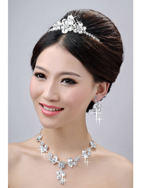 Awesome Alloy Clear Cristals Flower Wedding Party Earrings Set