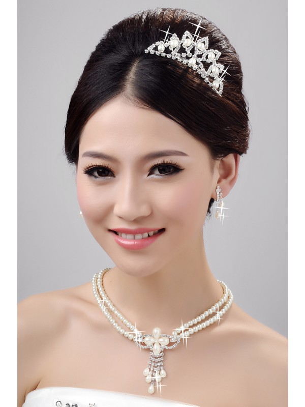 Fashion Alloy Clear Cristals Wedding Party Earrings Set