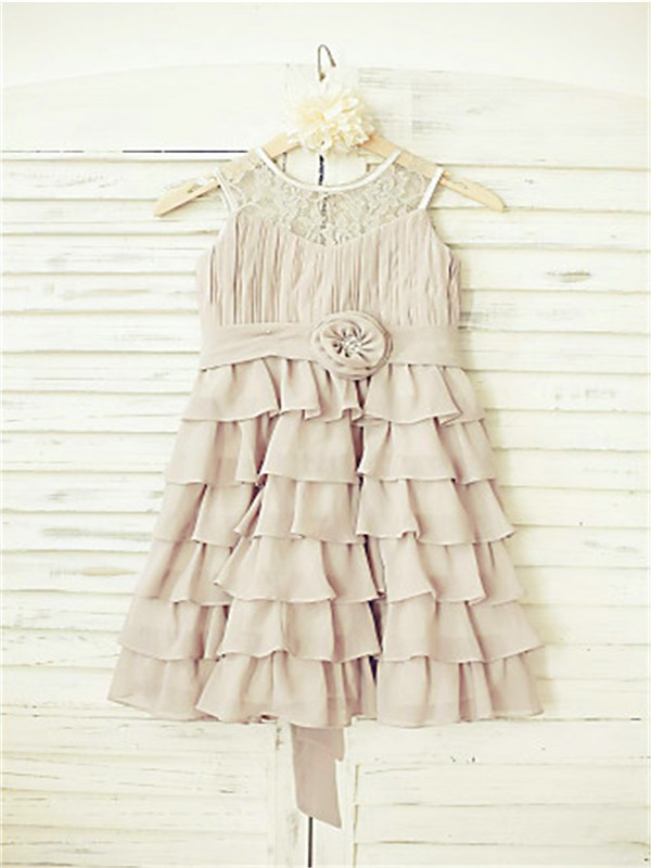 A-line/Princess Scoop Sleeveless Ruffles Floor-Length Chiffon Flower Girl Dresses