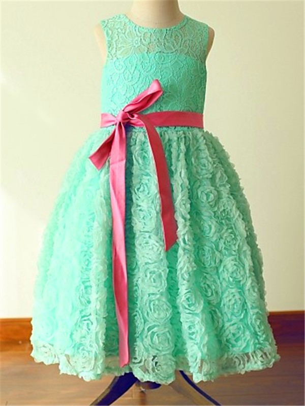 A-line/Princess Jewel Sleeveless Bowknot Floor-Length Lace Flower Girl Dresses