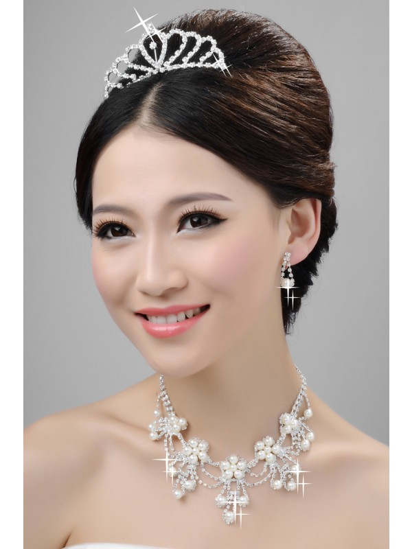 Elegant Alloy Clear Cristals Wedding Party Earrings Set