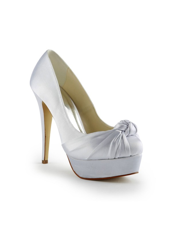 Gorgeous Satén Stiletto Heel Pumps With Fruncido Blanco Wedding Shoes