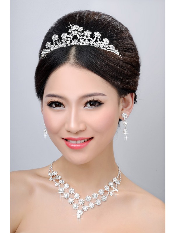 New Style Alloy Clear Cristals Flower Wedding Party Earrings Set