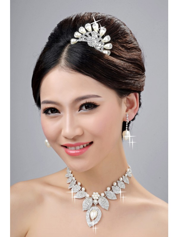 New Style Alloy Clear Cristals Pearl Wedding Party Earrings Set