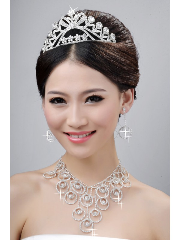 New Style Beautiful Alloy Cristals Wedding Party Earrings Set