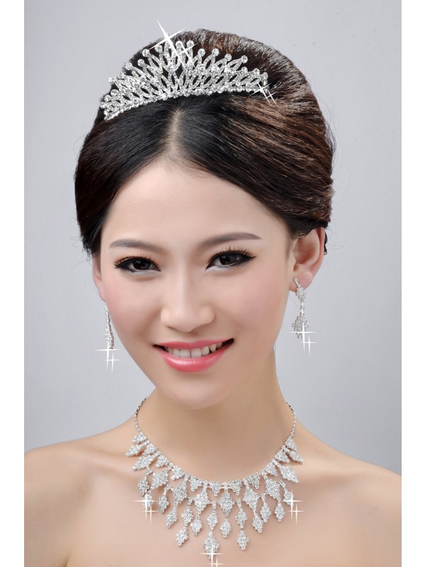 New Style Fashion Alloy Clear Cristals Wedding Party Earrings Set