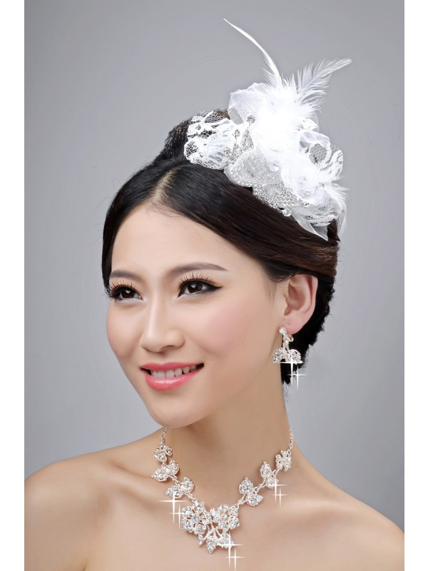 Nice Alloy Clear Cristals Flower Wedding Party Earrings Set