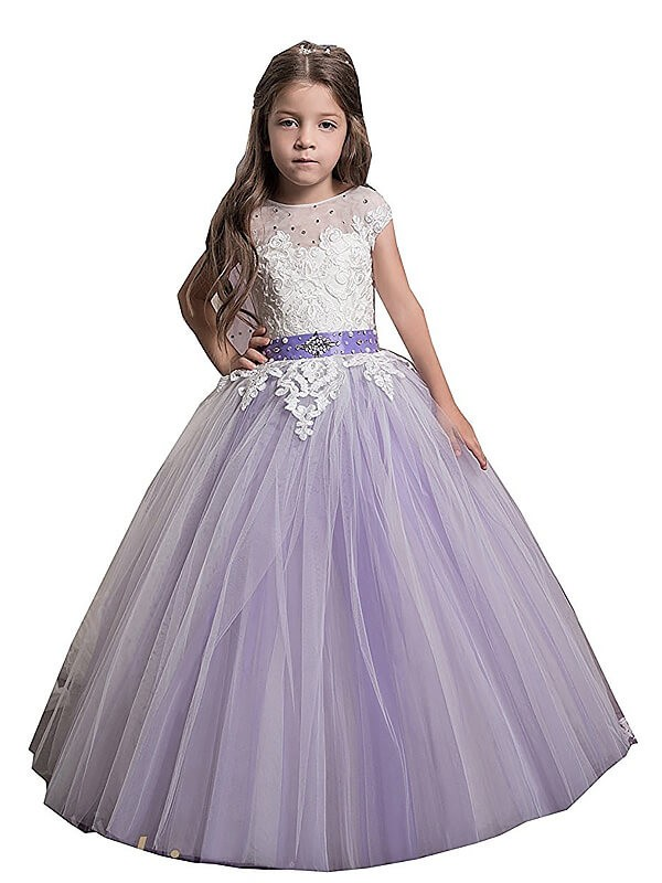 Corte de baile Tul Escote Joya Hasta el Suelo Vestidos de Arras with Applique