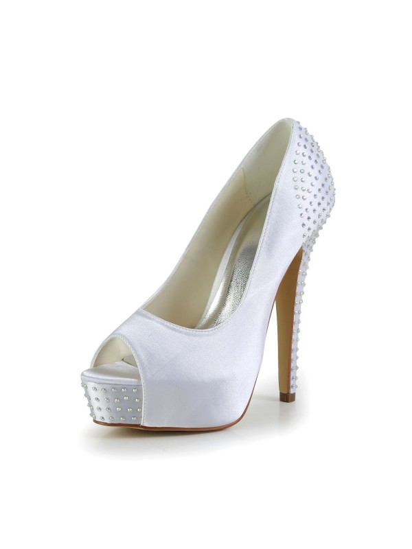 Satén Stiletto Heel Peep Toe Platform Blanco Wedding Shoes With Estrás