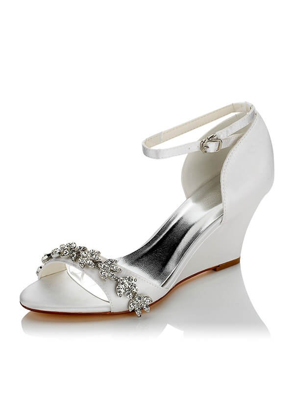 Satén PU Peep Toe Wedge Heel Wedding Shoes