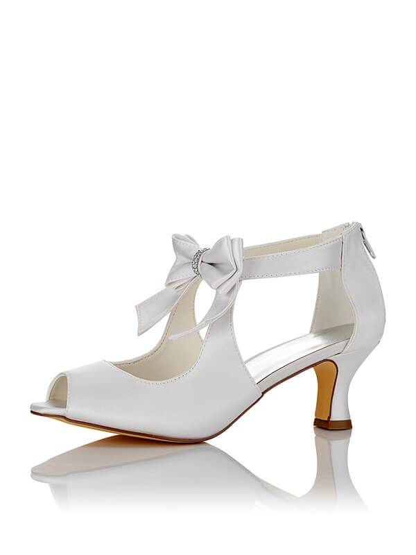 Satén PU Peep Toe Spool Heel Wedding Shoes