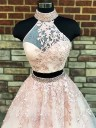 A-Line/Princess High Neck Sleeveless Sweep/Brush Train Applique Tulle Two Piece Dresses