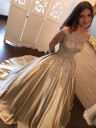 Ball Gown Brush Train Champagne Satin Prom Dresses