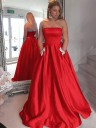 A-Line/Princess Strapless Sleeveless Sweep/Brush Train Beading Satin Dresses